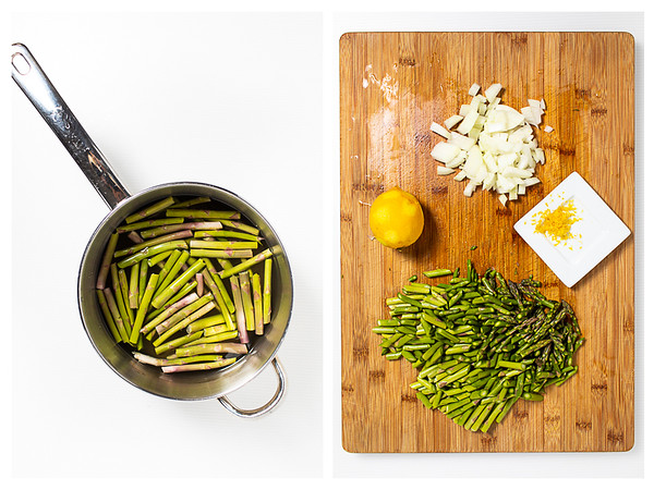 Collage showing asparagus stems in broth and rest of ingredients chopped on a cutting board.