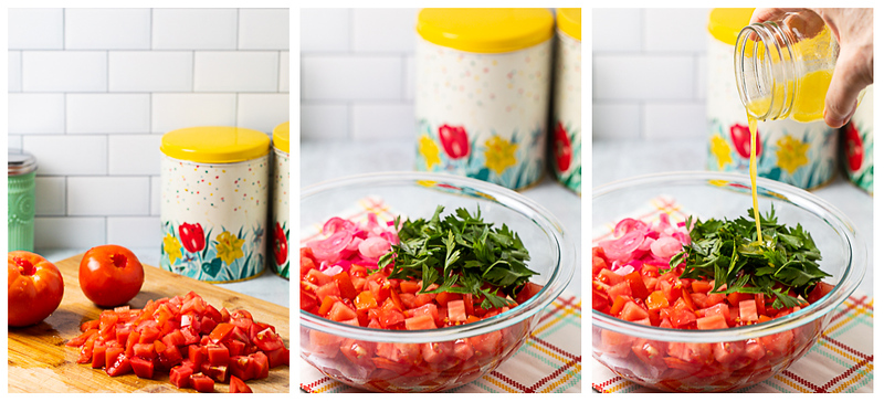 Photo collage showing tomatoes diced, tomatoes, onions and parsley in a bowl with dressing being poured over.