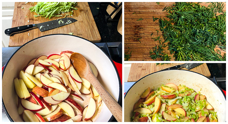 Photo collage showing apples and cabbage being sautéd and dill being chopped.