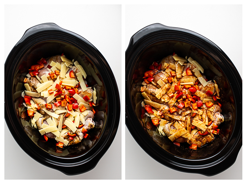 Photo collage showing bamboo shoots and red bell peppers on top of chicken in a slow cooker with a red curry sauce poured on top.