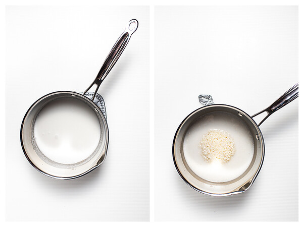 Photo collage showing coconut milk and rice in a saucepan.