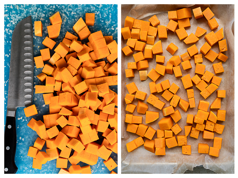 Photo collage showing butternut squash cubed on cutting board and then on tray.
