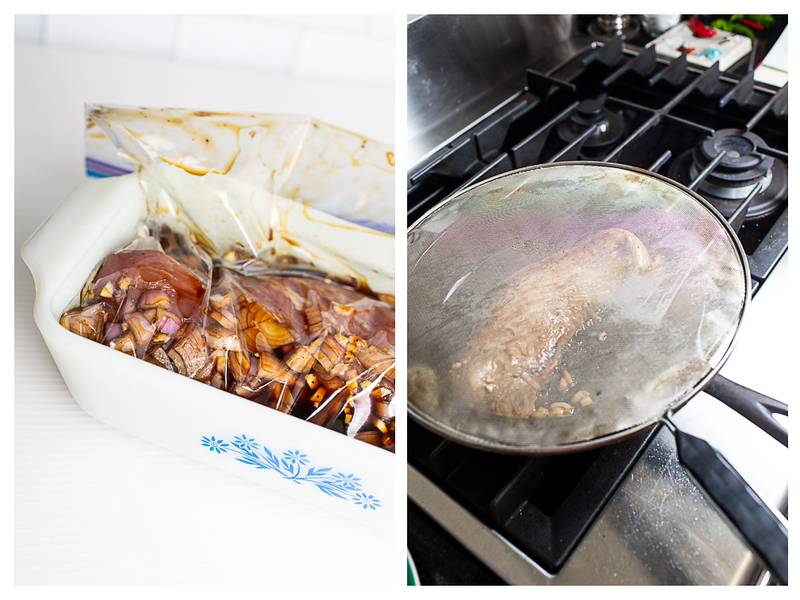 Photo collage showing pork being marinated and then browned in a skillet.