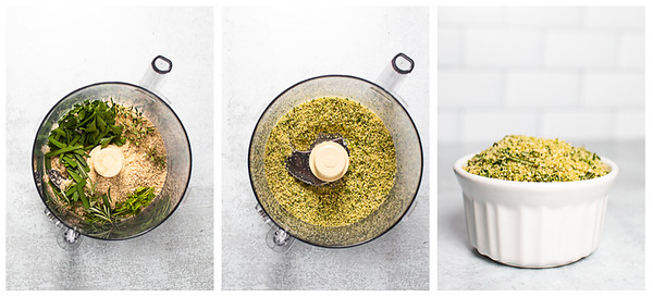 Photo collage showing the steps to make herbed bread crumbs.