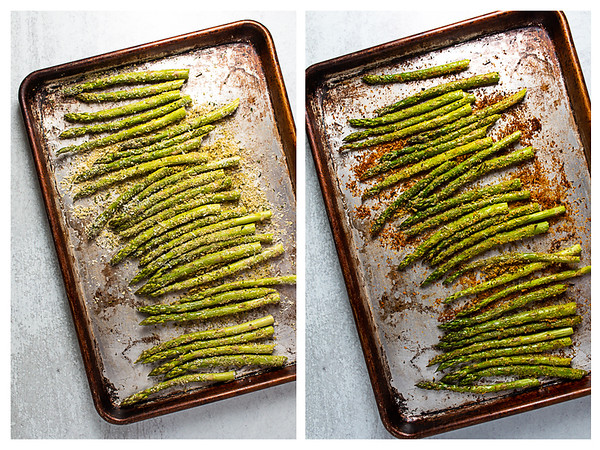 Two photos showing bread crumb coated asparagus before and after roasting.