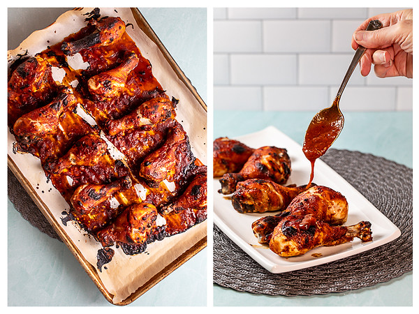 Photo collage showing chicken legs out of the oven and then being drizzled with barbecue sauce.