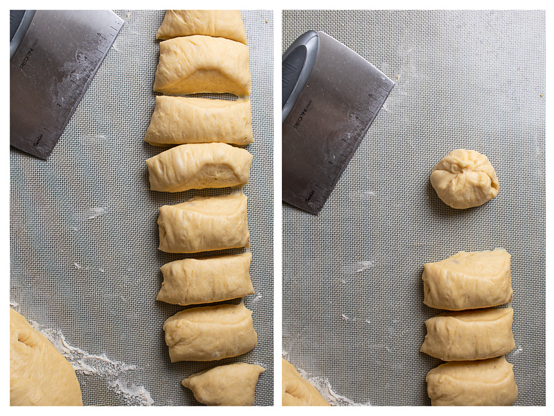 Photo collage of bread dough cut into pieces.
