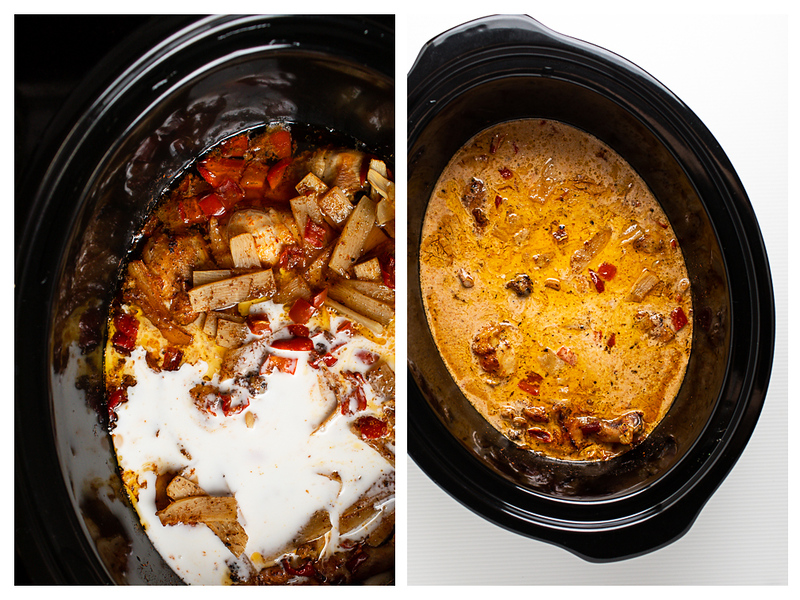 Photo collage showing coconut milk added to chicken curry and then finished curry.