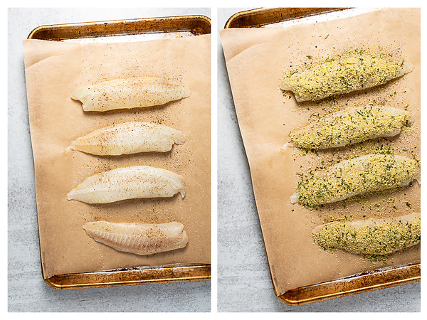 Photo collage showing the first two steps for making baked tilapia, tilapia on a baking sheet, covered in bread crumbs.
