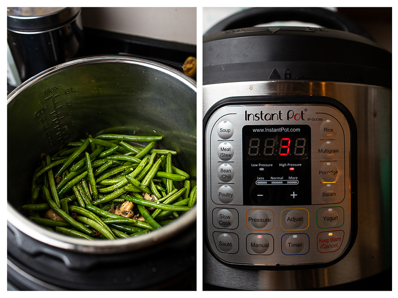 Photo collage showing green beans in an Instant Pot and then the timer set for 3 minutes.