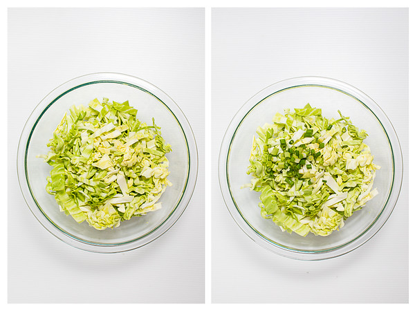Photo collage showing first two steps for making Asian Slaw.