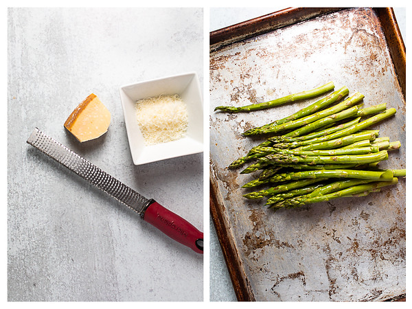 Photo collage showing parmesan cheese being grated and asparagus mounded up on cooking sheet.
