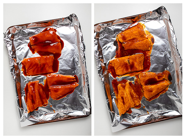 Photo collage showing salmon glazed before and after broiling.