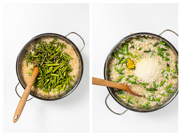 Adding asparagus to the risotto and then adding cheese and lemon zest.