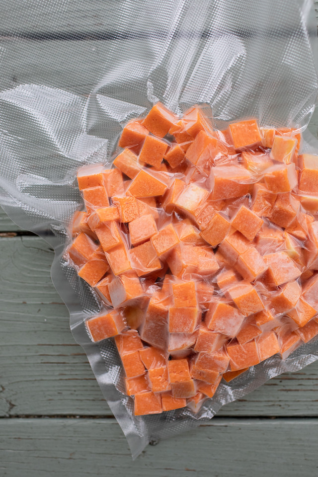Bag of frozen butternut squash.