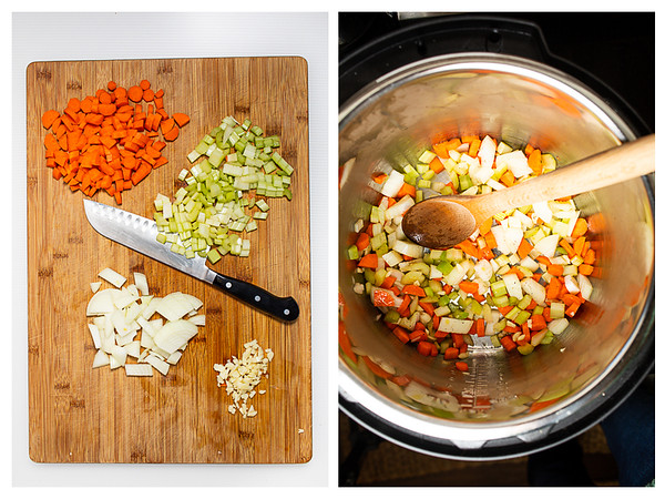 Photo collage showing chopped vegetables and vegetables in the Instant Pot.