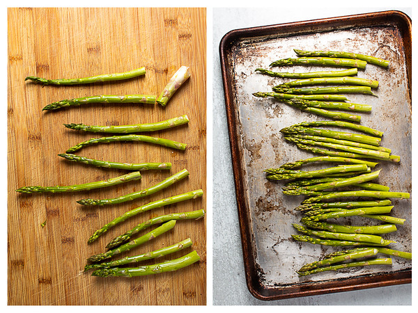 Two photos showing asparagus being trimmed and then spread out on a baking sheet.