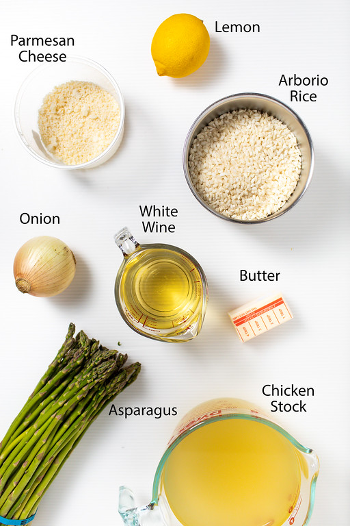 Parmesan cheese, lemon, arborio rice, onion, white wine, butter, asparagus and chicken stock.