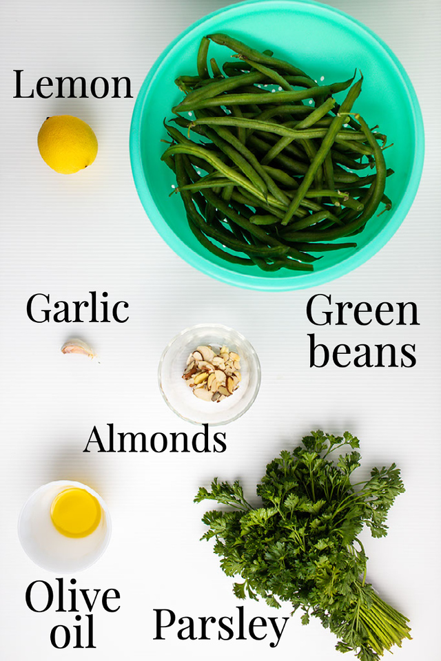 Lemon, green beans, garlic, almonds, olive oil and parsley.