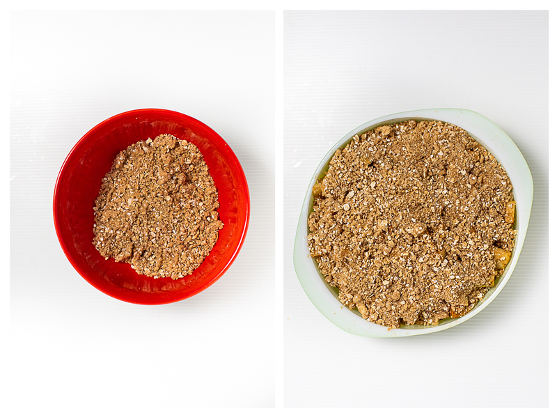 Photo collage showing crumb topping in bowl and on the apple crisp.