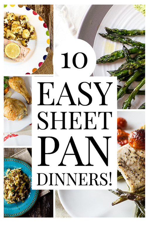 "Photo collage with text overlay reading ""10 easy sheet pan dinners."""