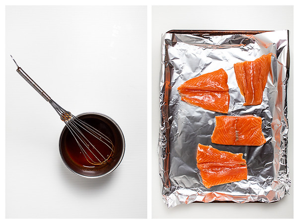 Photo collage showing sauce and salmon ready for glazing.