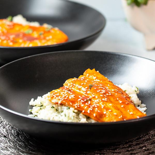 Bowl with salmon over cilantro flecked white rice.