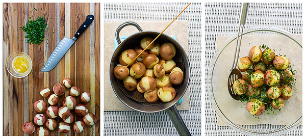 Photo collage showing potatoes being peeled, steamed and then tossed with butter and parsley.