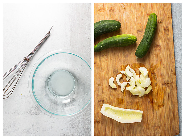 Photo collage showing dressing mixed in a bowl and cucumbers peeled and sliced.