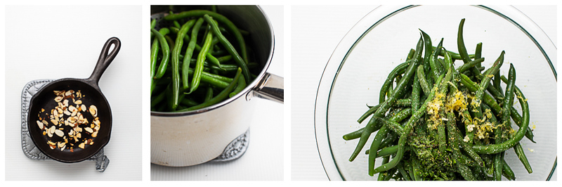 Photo collage showing almonds toasted, green beans steaming and then being tossed with gremolata.