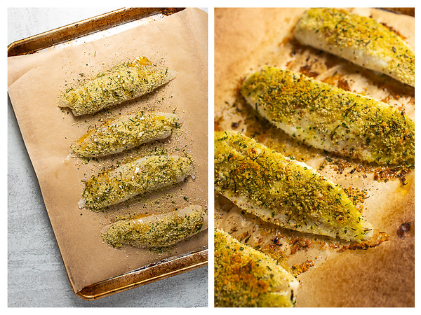 Tilapia drizzled with melted butter and then after taking it out of the oven.