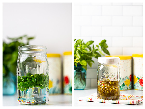 Photo collage showing basil leaves in vinegar before and after aging.
