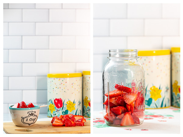 Photo collage showing strawberries sliced and in a jar.
