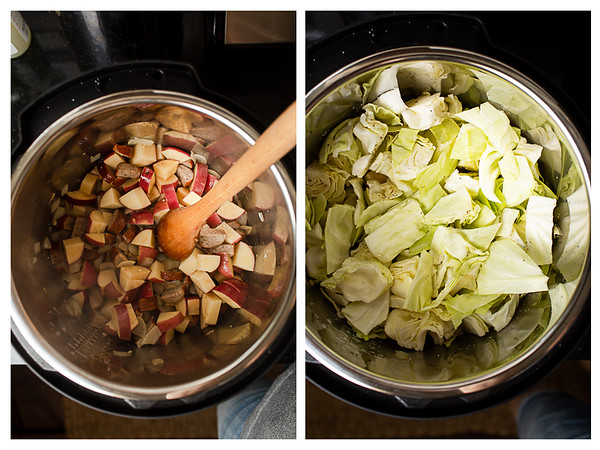 Photo collage showing potatoes and cabbage added to Instant Pot.