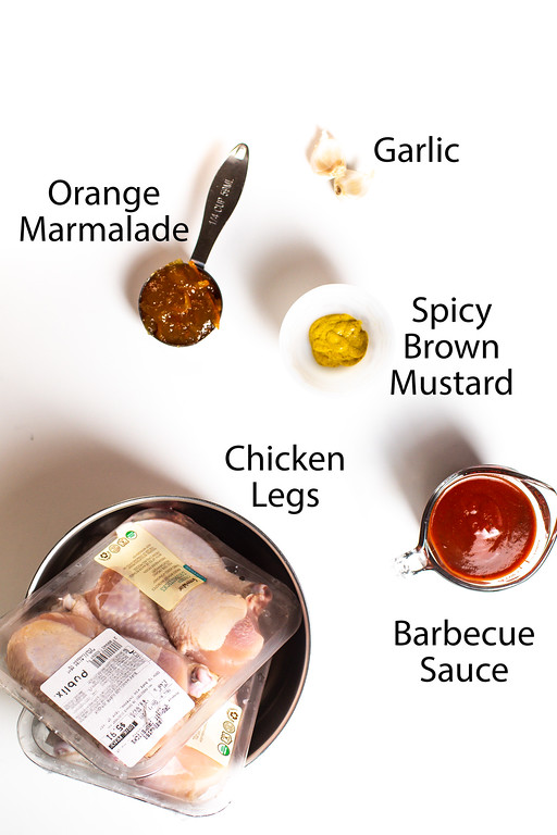 Orange marmalade, garlic, spicy brown mustard, barbecue sauce, and chicken legs.