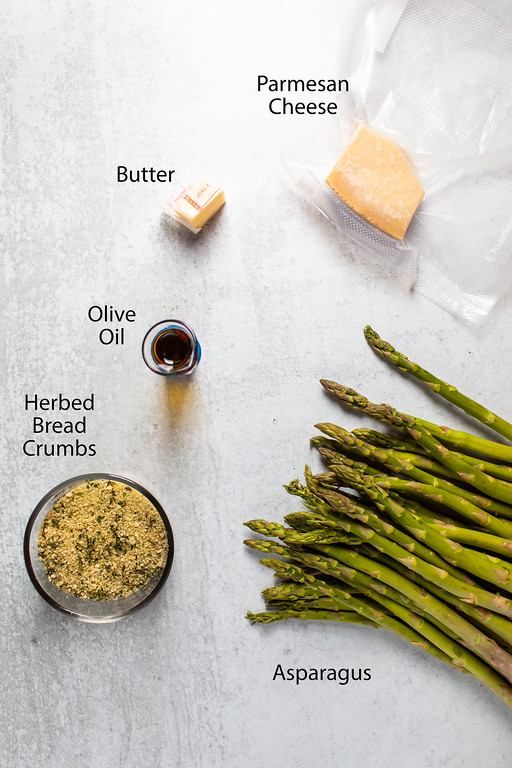 Parmesan cheese, butter, olive oil, herbed bread crumbs and asparagus.