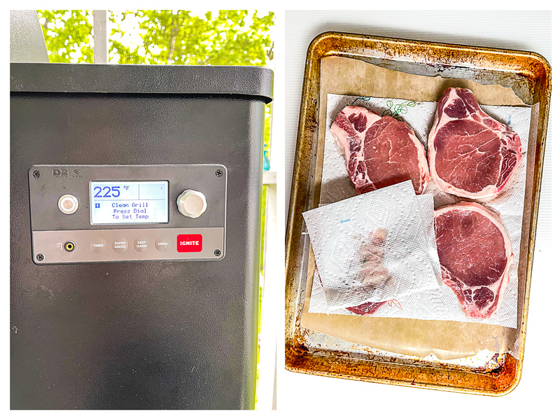 Photo showing grill preheating and pork chops being patted dry.