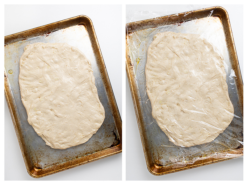 Photo collage showing bread spread out in cookie sheet and then covered with plastic wrap.