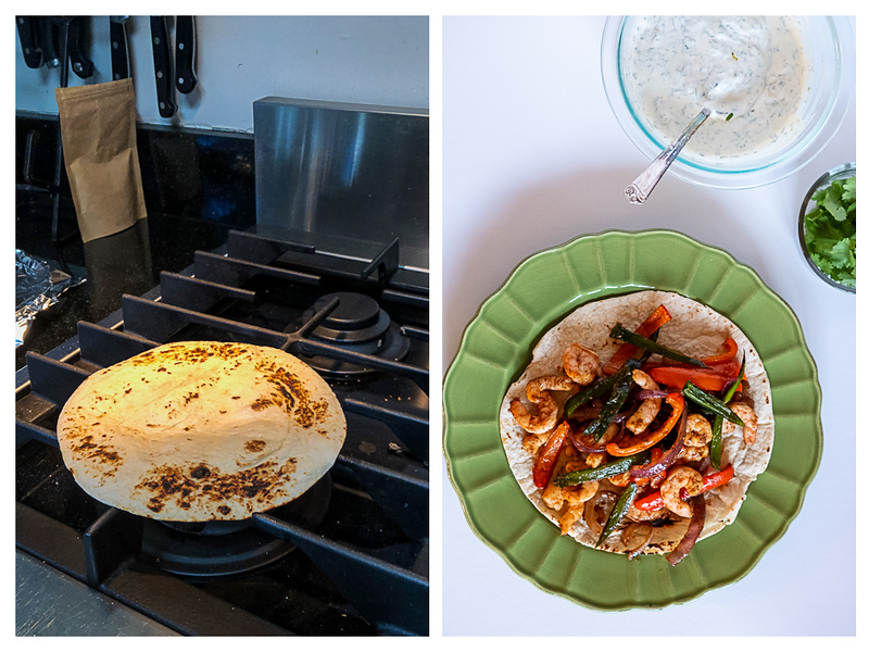 Photo collage showing tortillas being charred on a stove and then served with sauce and cilantro.
