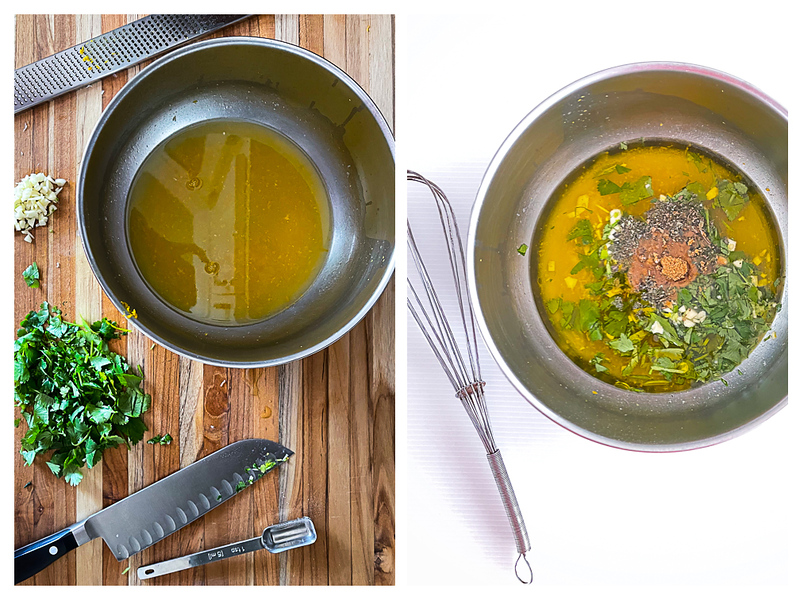 Photo collage showing ingredients prepared and then placed in bowl.