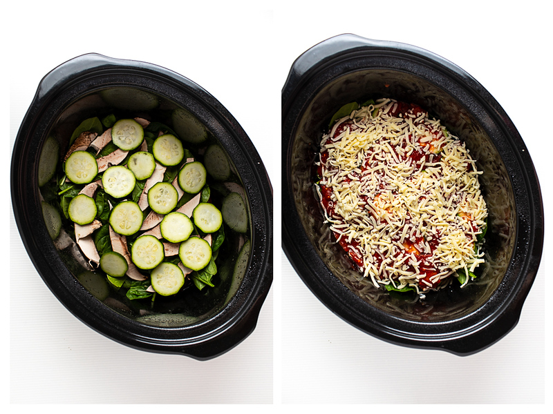 Photo collage showing spinach, mushrooms and zucchini layered and topped with cheese.