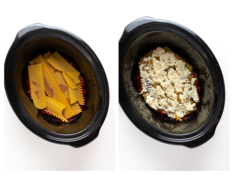 Photo collage showing lasagna noodles in slow cooker and then topped with cheese.