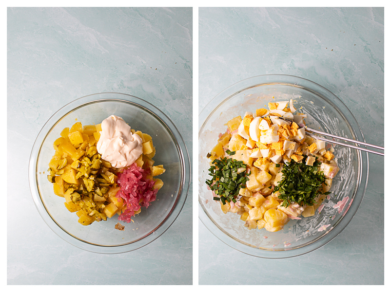 Photo collage showing potatoes with pickles, onions and may and then eggs, chives and parsley.