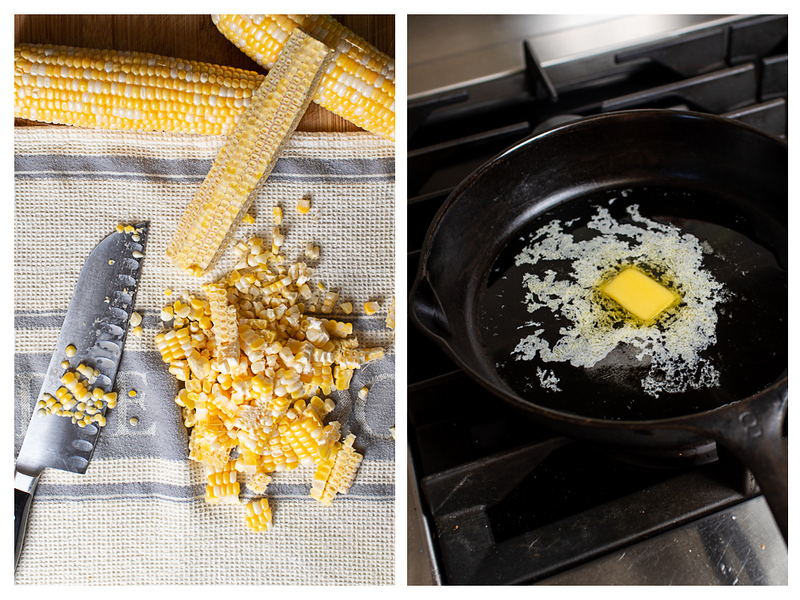Photo collage showing corn being taken off the cob and butter melting in a cast iron skillet.