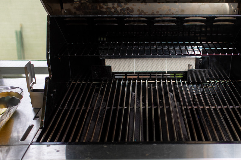 Open grill being preheated.