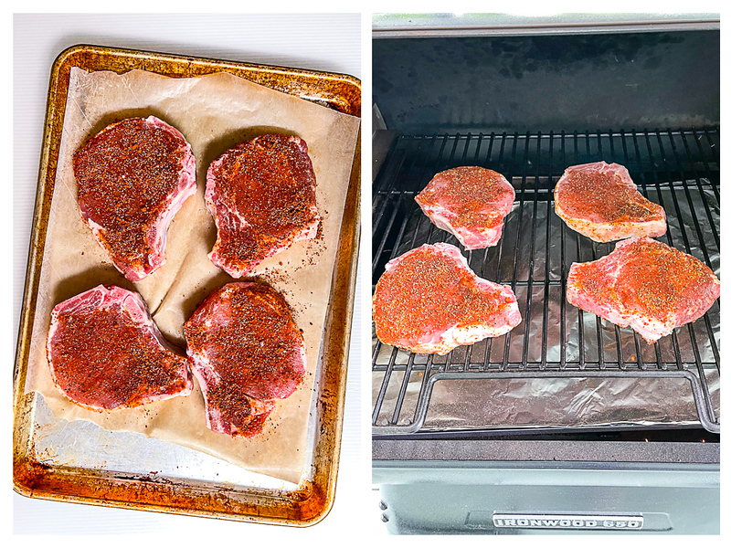 Pork chops sprinkled with rub and then placed on grill.