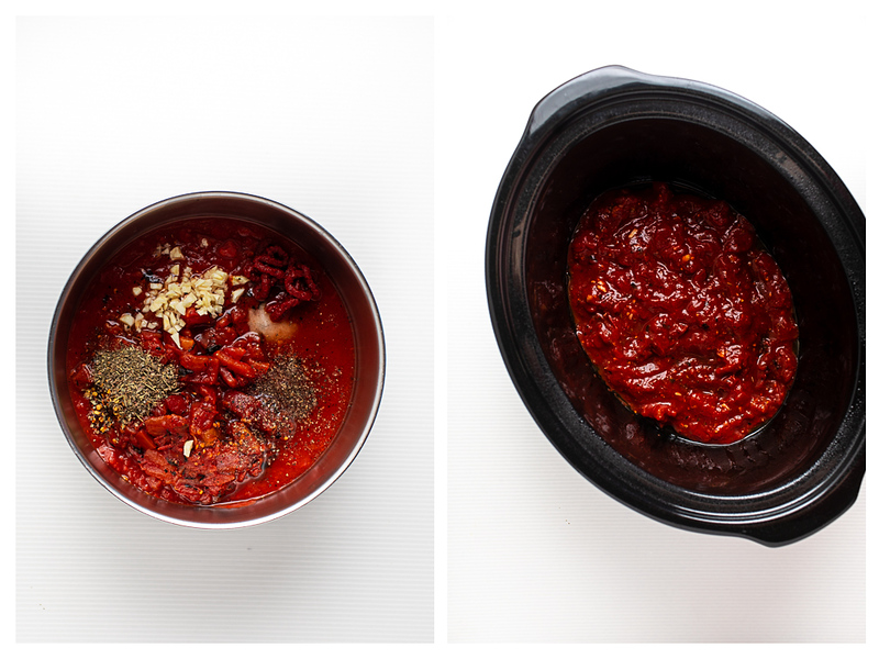 Photo collage showing tomato sauce in a bowl and then in a slow cooker.