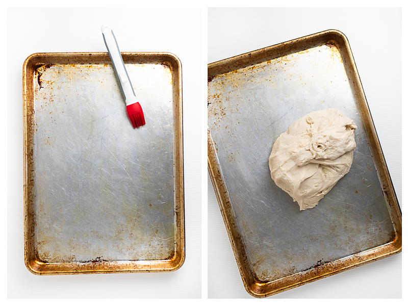 Photo collage showing olive oil brushed on a cookie sheet and then a ball of dough on the sheet.