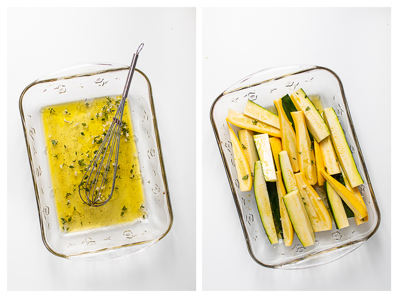 Photo collage showing marinade mixed in a pan and zucchini and squash in the marinade.