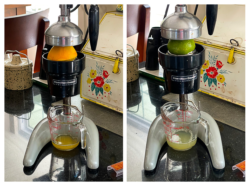 Photo collage showing oranges and limes being squeezed in a large citrus press.